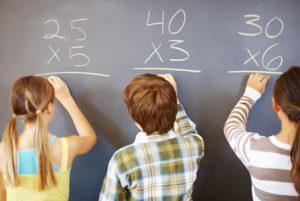 Children solving math problems