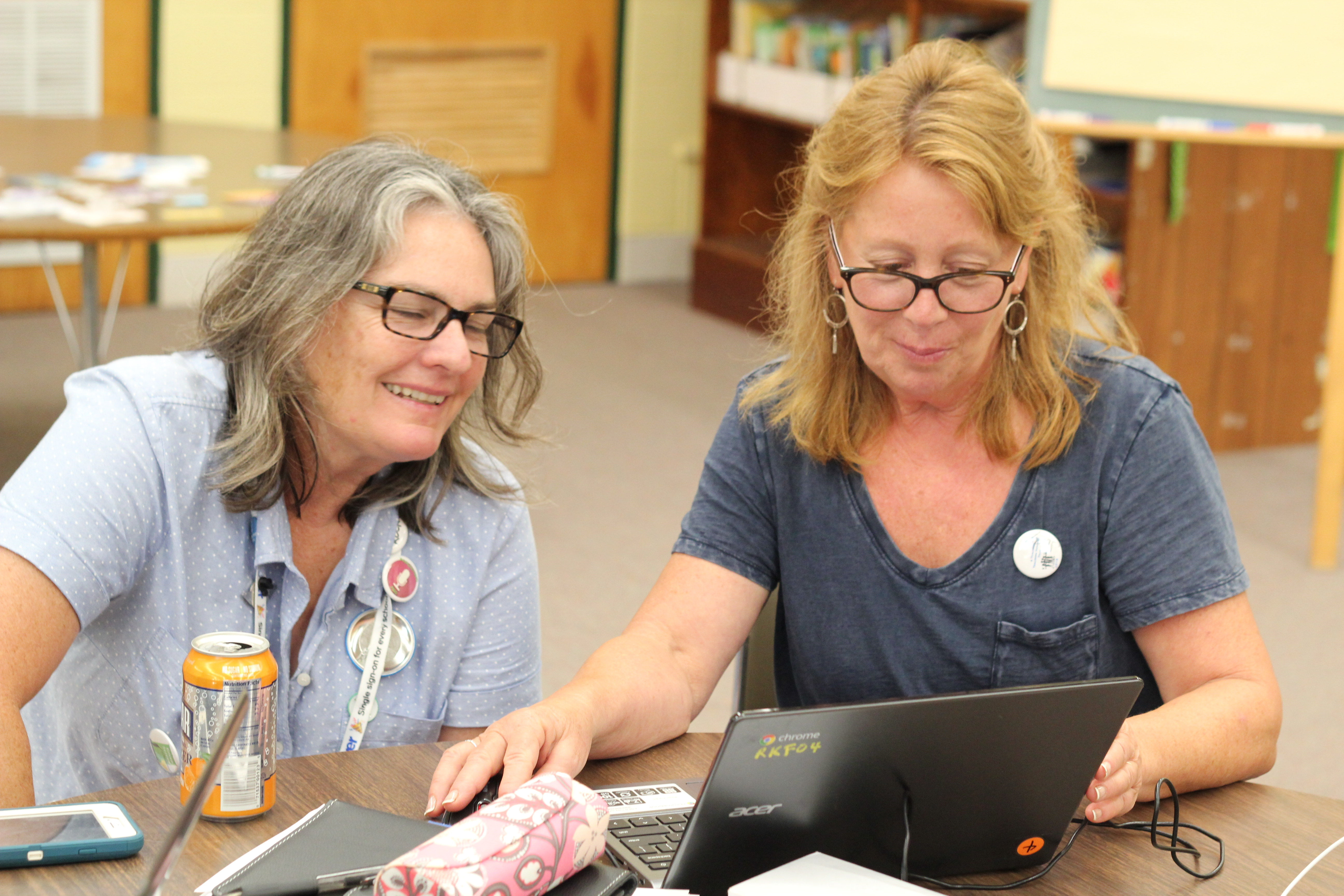 Two teachers working on a computer