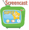 cartoon of a tv with star and logos from programs you'd use to make a screencast.