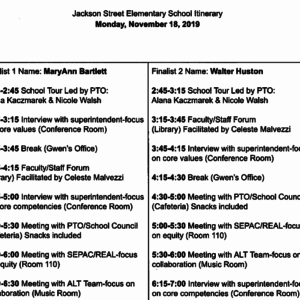 JSS Principal Itinerary