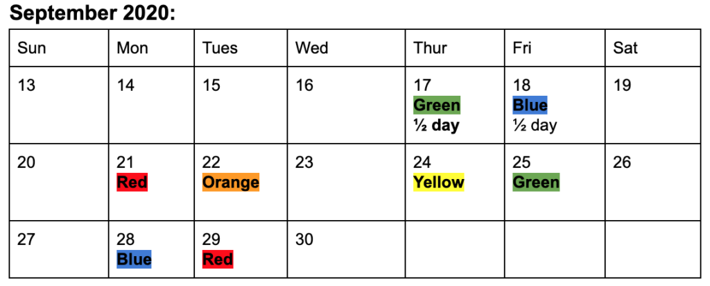Sept schedule for specials