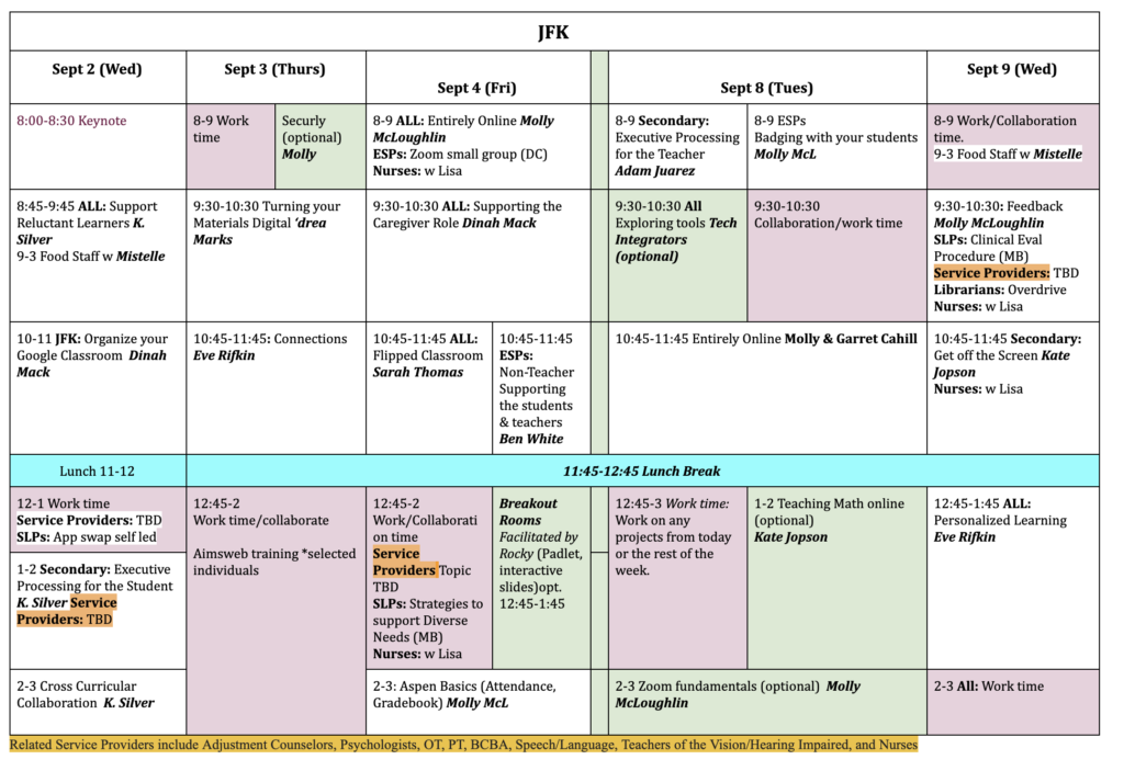 JFK PD Schedule