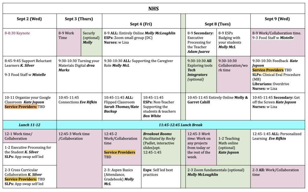 NHS PD Schedule