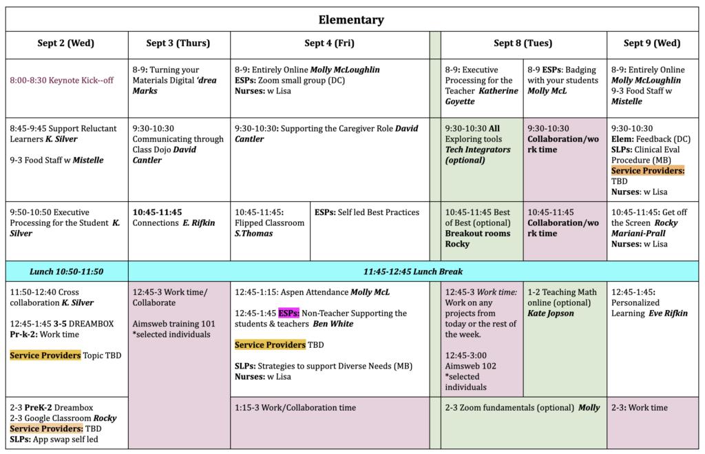 Elem PD schedule