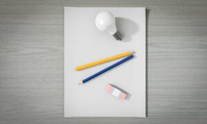 paper, pencil, lightbulb