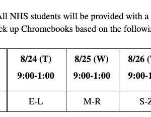 High School Chromebook pickup Schedule
